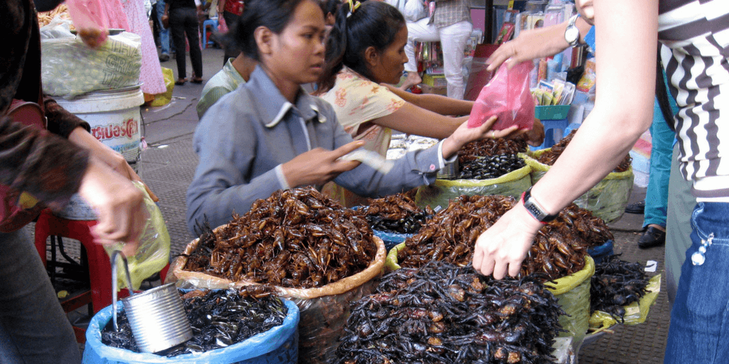 Traditional Cambodian food includes insects