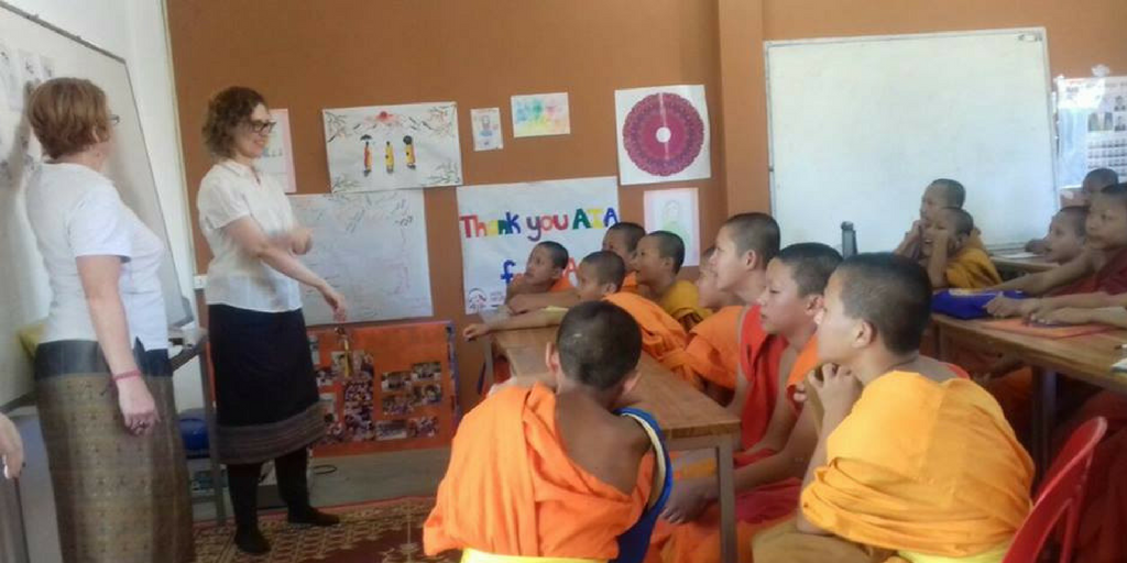 Teach Novice Monks In Laos