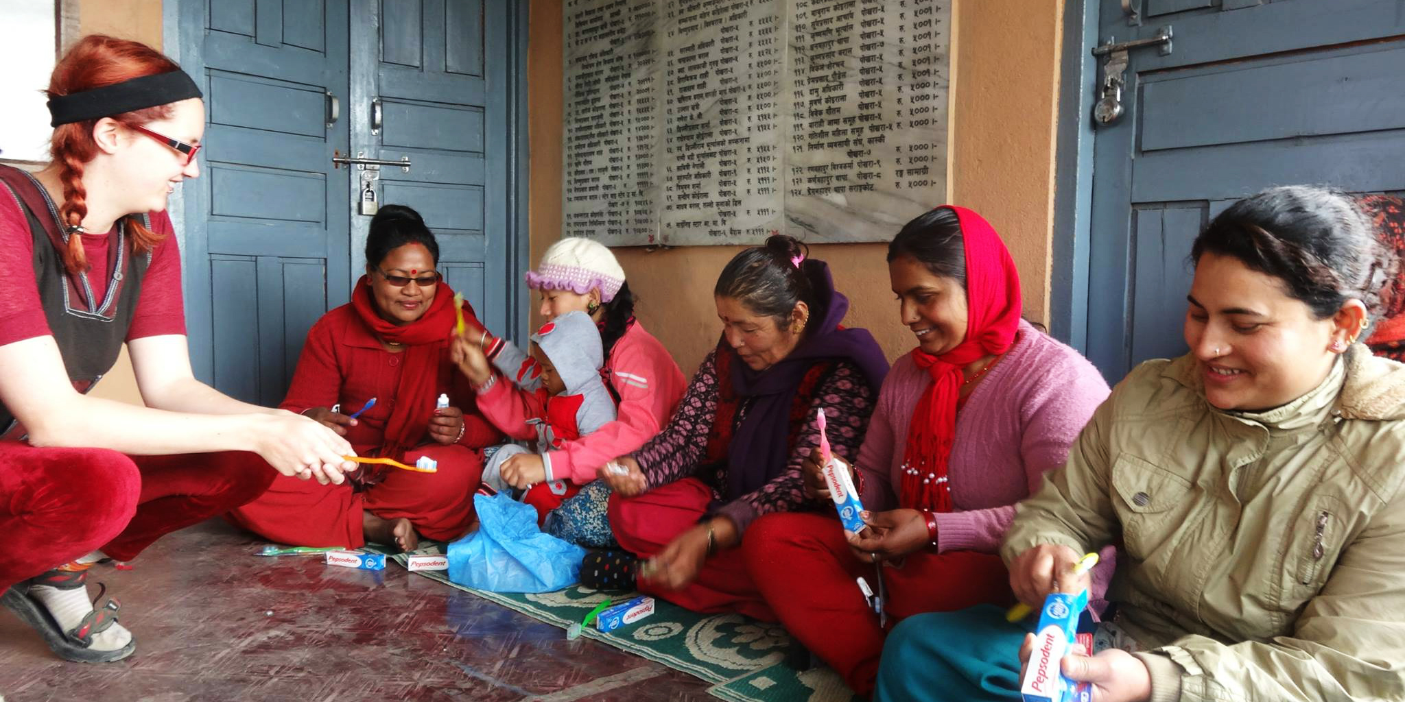 Heathcare volunteers conduct preventative healthcare workshops on toothcare in Pokhara, Nepal.