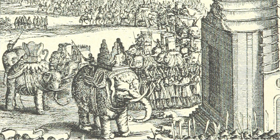 An illustration from a 19th century text shows elephants used in a grand procession. Historically, elephants in Thailand were used to indicate status.