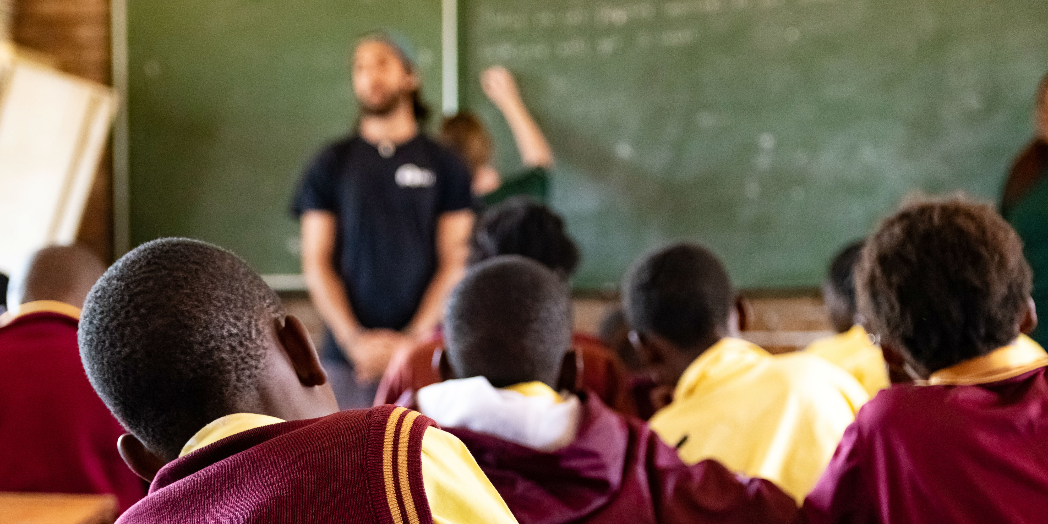 Teach English abroad interns lead a lesson in a school in Limpopo, South Africa.