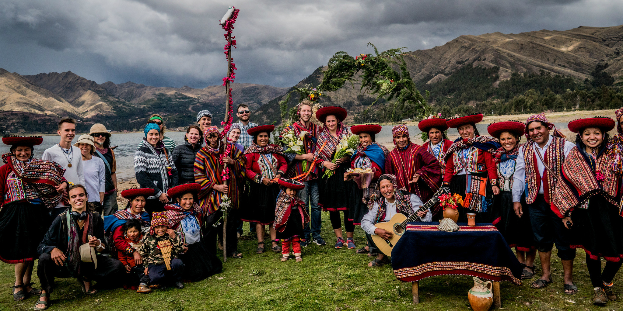 GVI participants celebrate a wedding together with community partners. Participants work closely with quechua people while volunteering in Peru with GVI.
