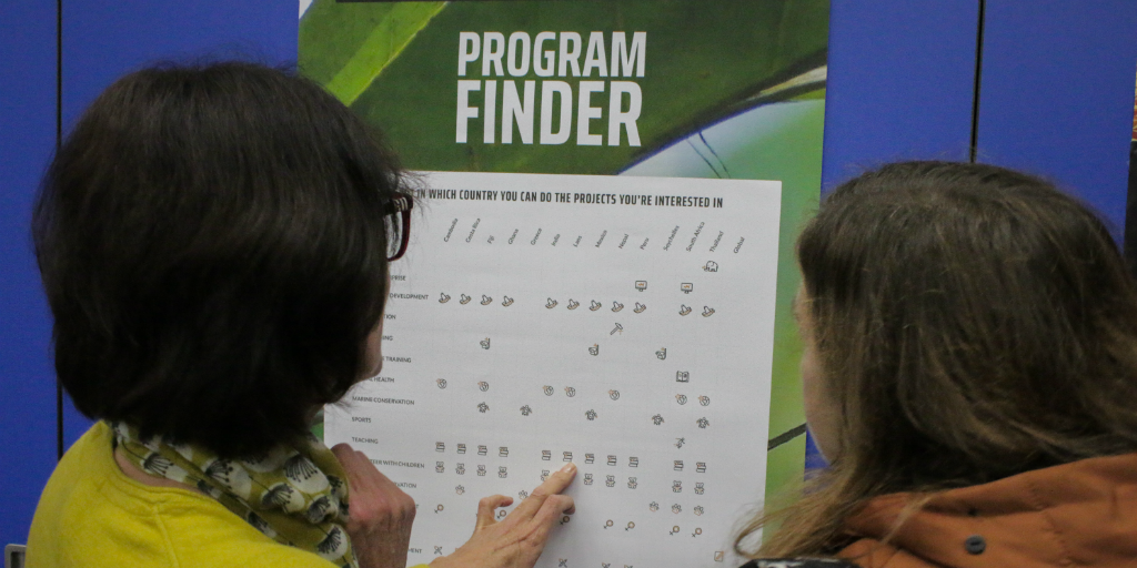 Two people looking at a GVI program finder