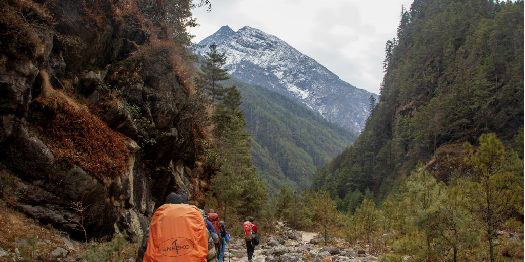 Hikers trekking up a mountain trail while volunteering in Nepal