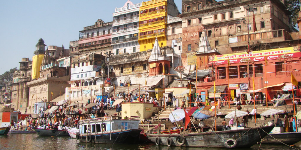 Experience the ghats leading into the ganges river when you take a trip to Varanasi