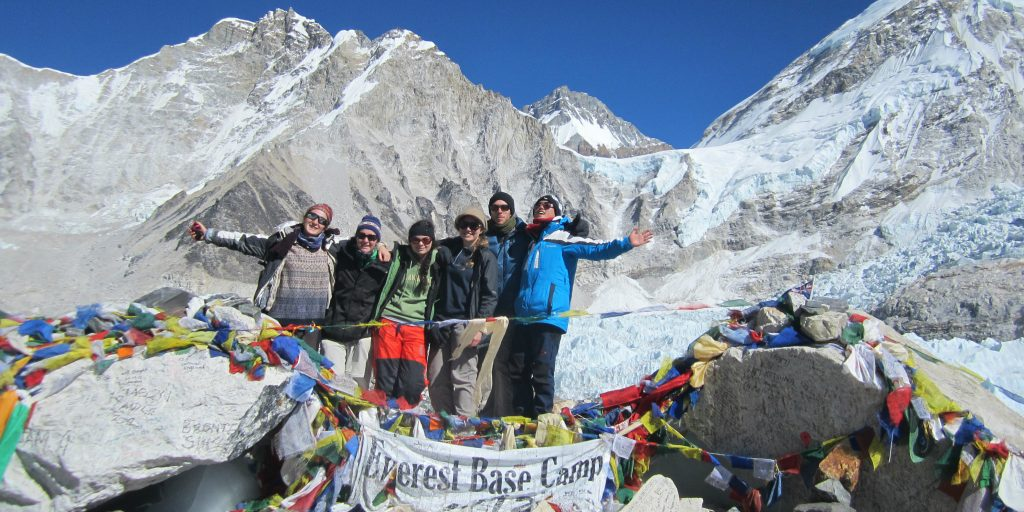 Volunteers summit everest base camp in Nepal
