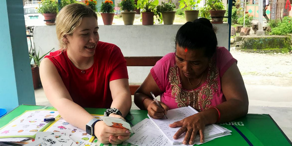 Gap year options include volunteering in Nepal.
